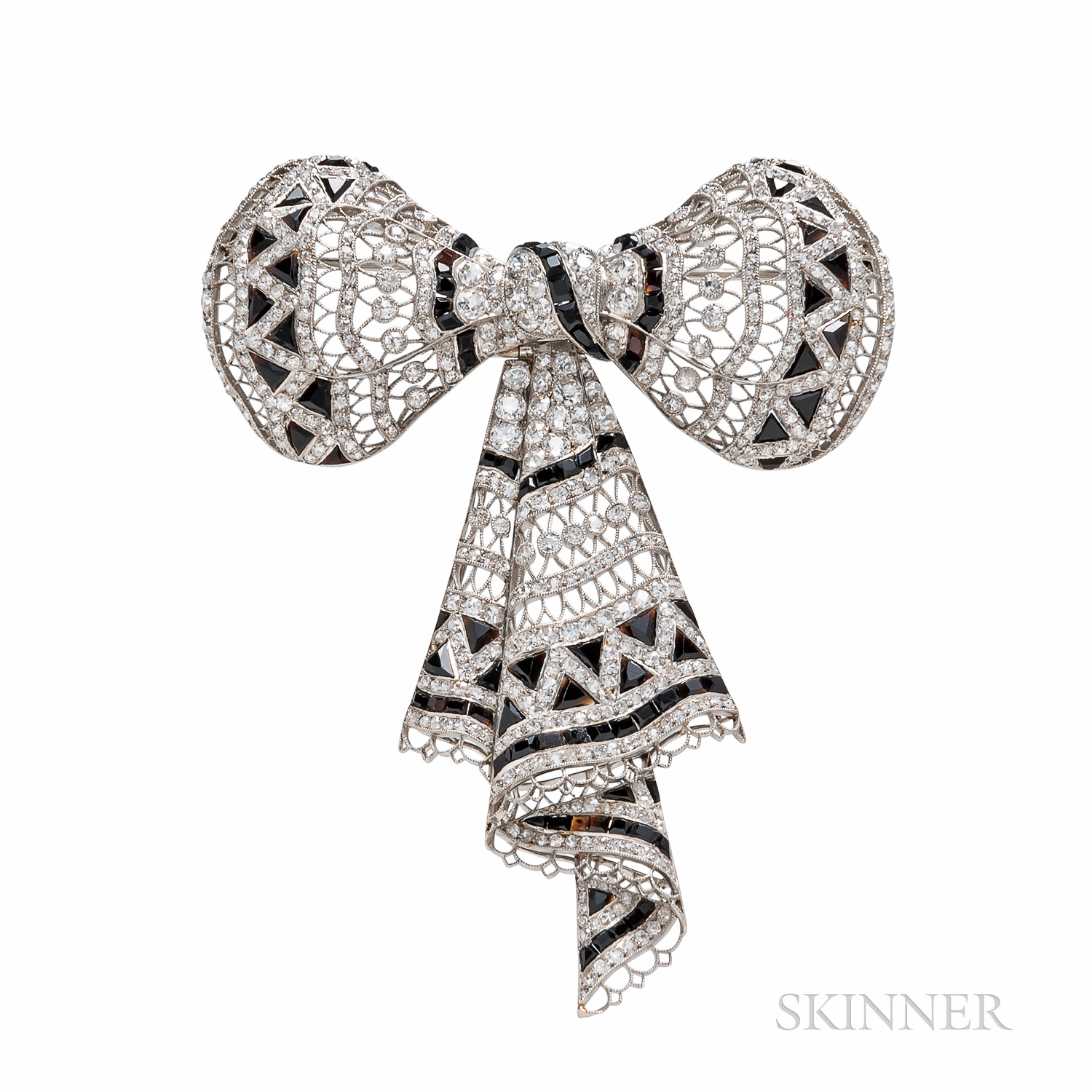 Belle Epoque Onyx and Diamond Bow Brooch