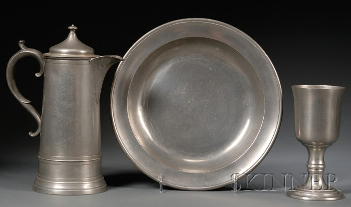 Pewter Flagon, Chalice, and Deep Dish
