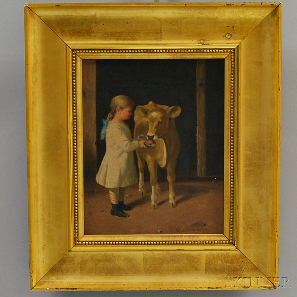 Attributed to Junius Brutus Stearns (American, 1810-1885)      Young Girl Feeding a Calf.