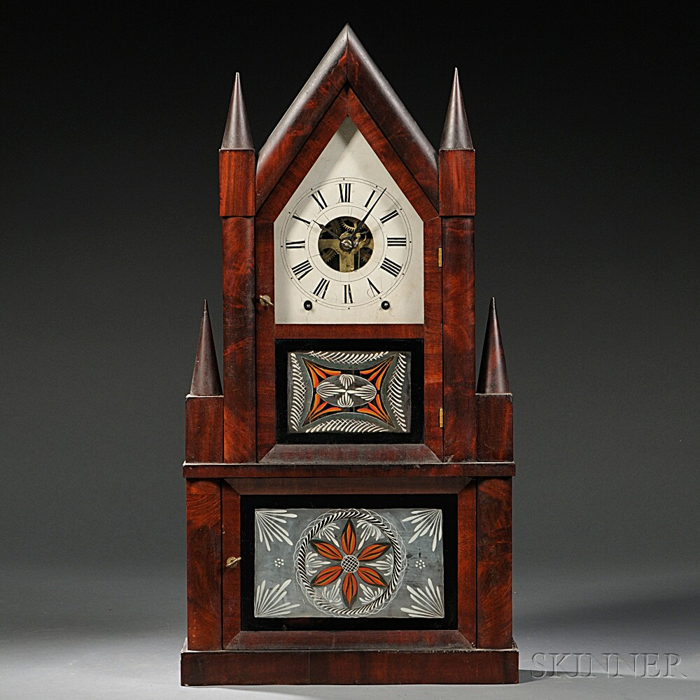 Birge & Fuller Mahogany Double Steeple Fusee Shelf Clock