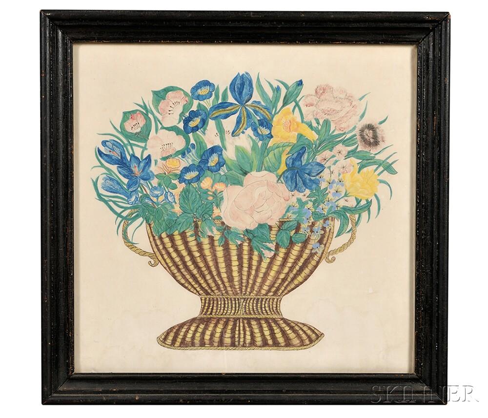 American School, 19th Century      Basket of Flowers.