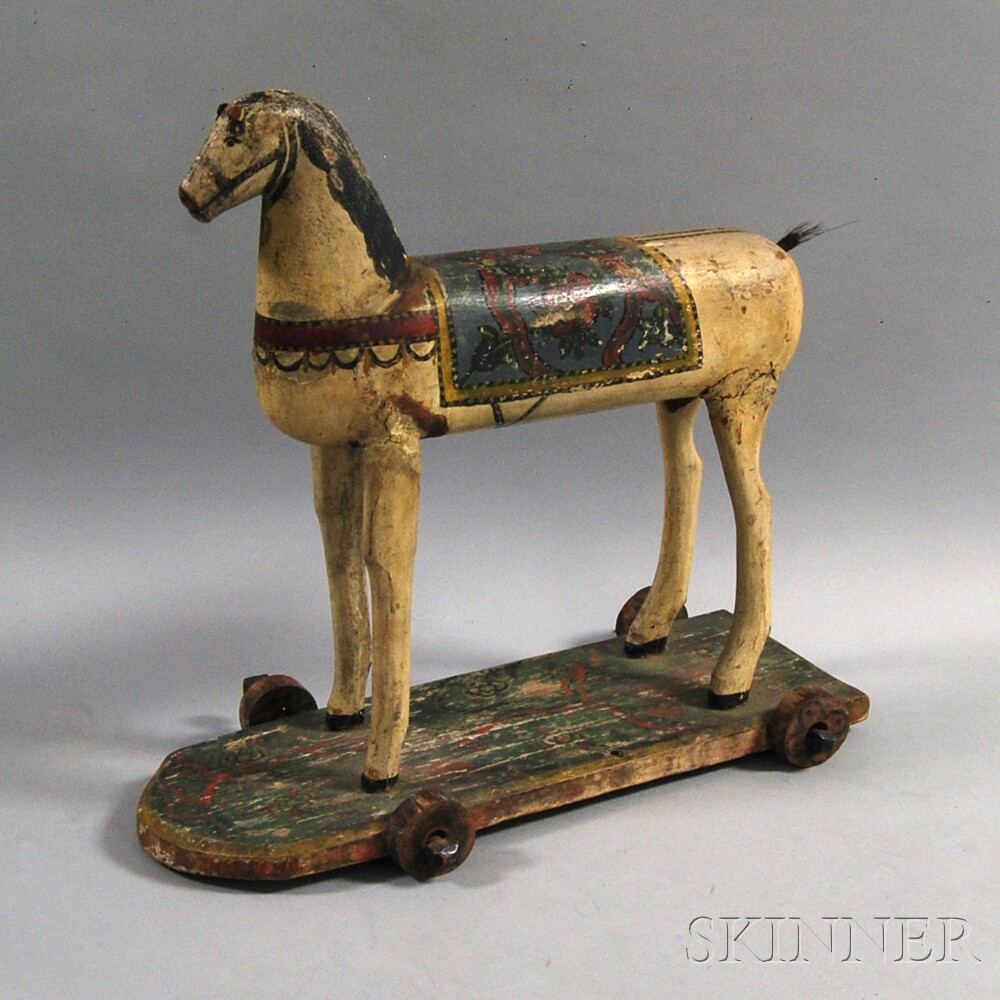 Polychrome Painted Wooden Horse Pull Toy