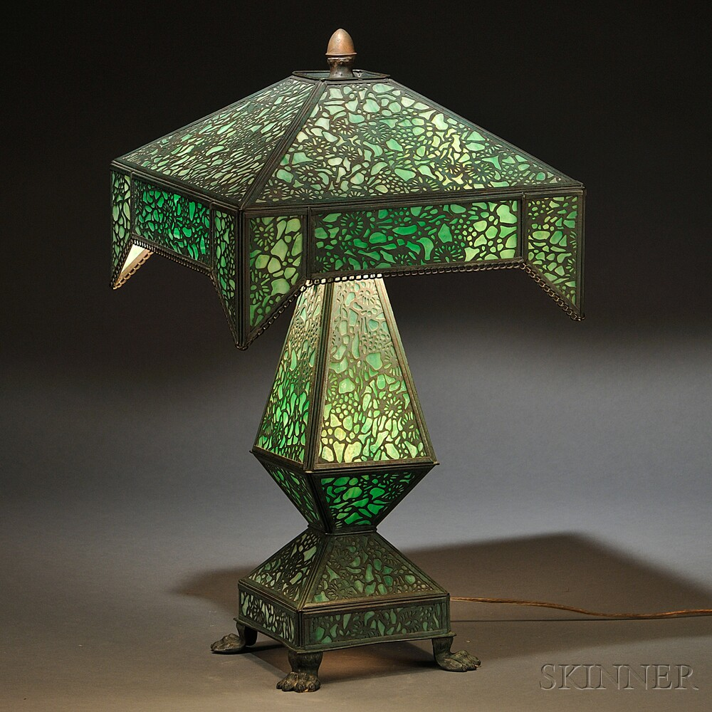 Metal Overlay Table Lamp Sale Number 2770b Lot Number