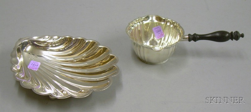 Gorham Sterling Silver Shell Form Dish and a Gorham Sterling Silver Pourer.