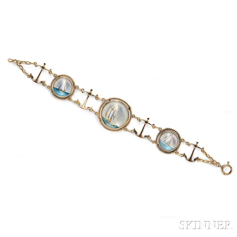 14kt Gold and Reverse-painted Crystal Nautical-theme Bracelet