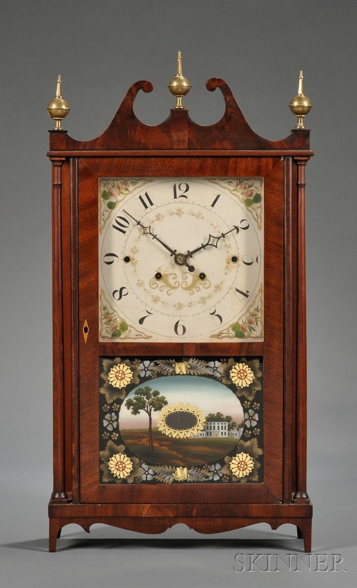 Federal Mahogany and Mahogany Veneer Pillar and Scroll Shelf Clock