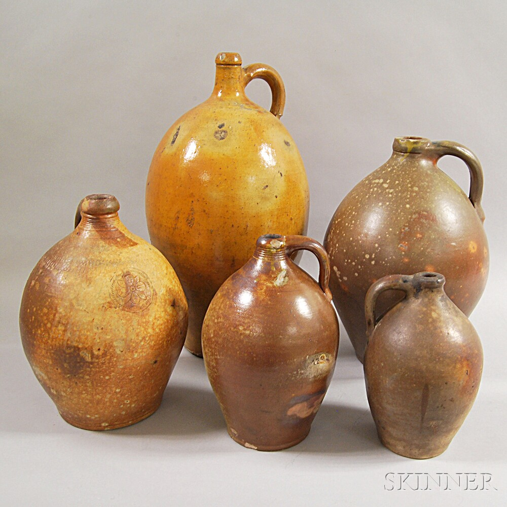 Five Early Stoneware Ovoid Jugs