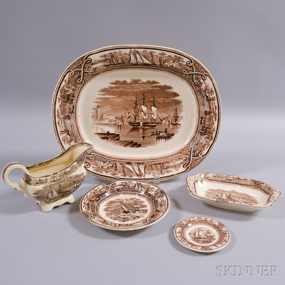 """Five Brown Transfer-decorated Historical Staffordshire """"American Marine"""" Table Items"""