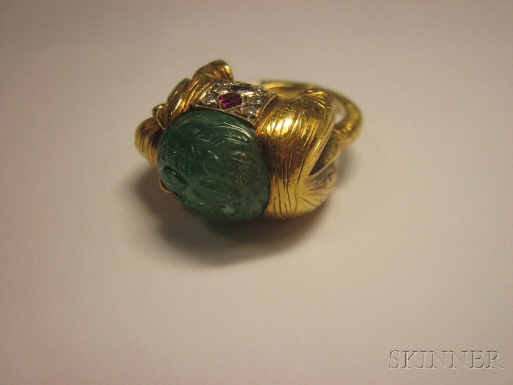 18kt Gold, Carved Emerald, and Gem-set Elephant Ring, Cartier