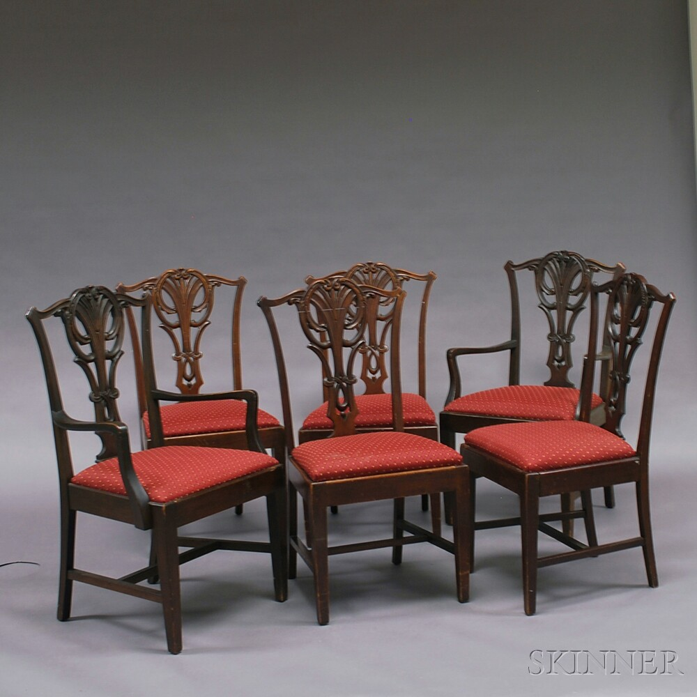 Marlborough Dining Set: Set Of Six Chippendale-style Mahogany Dining Chairs