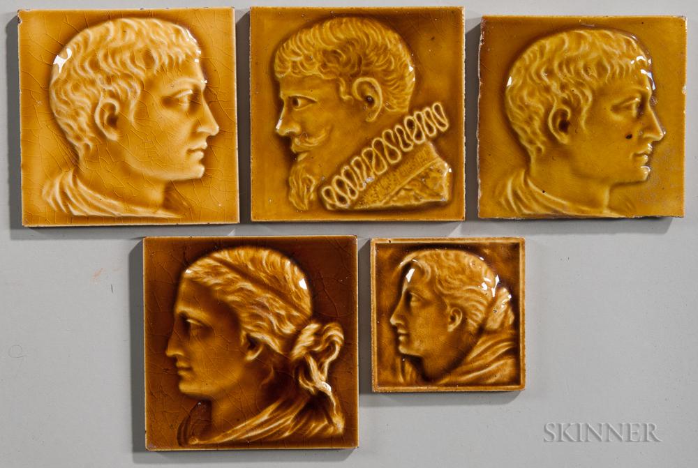 Five Newburgh Tile Works Art Pottery Tiles
