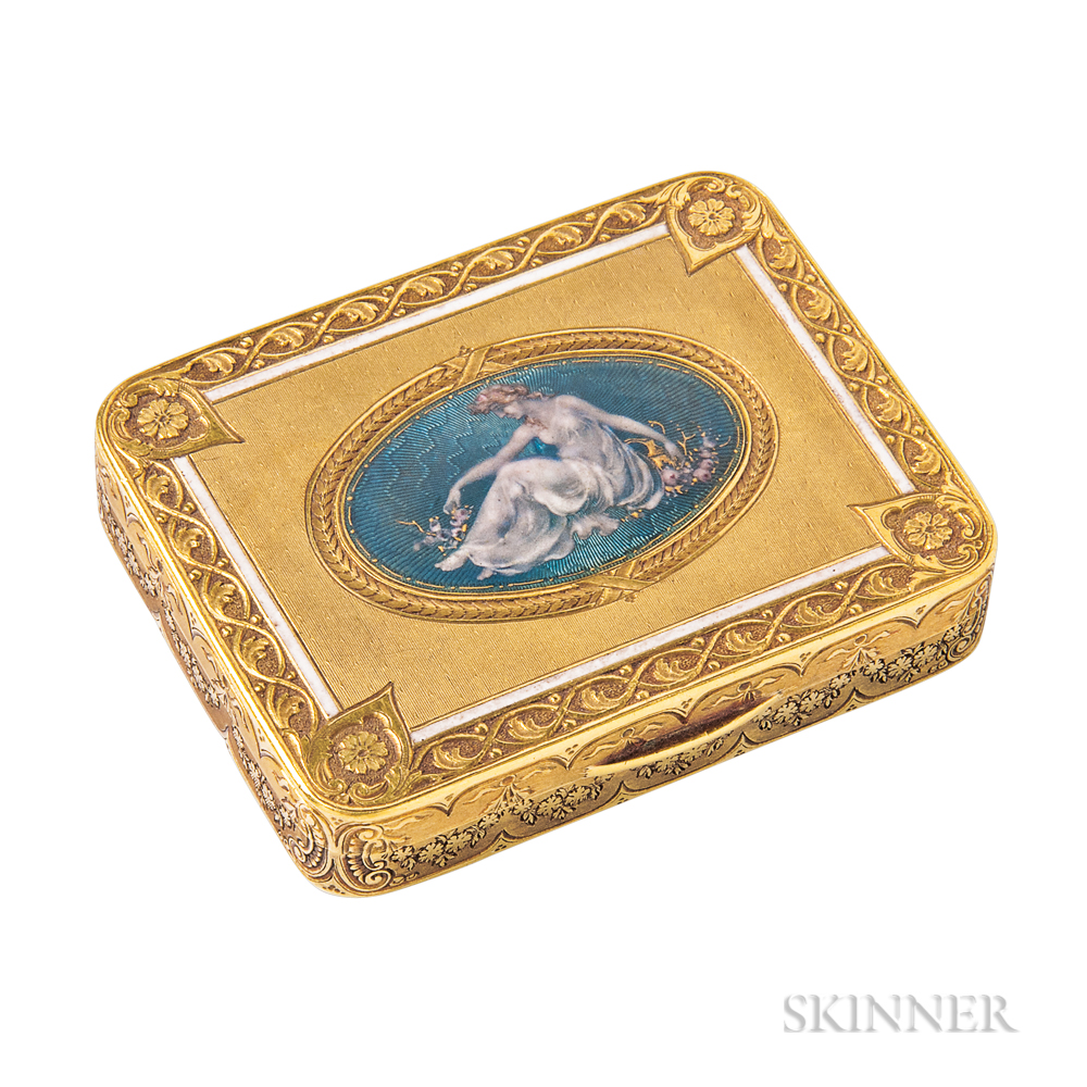 Edwardian 18kt Gold and Enamel Box
