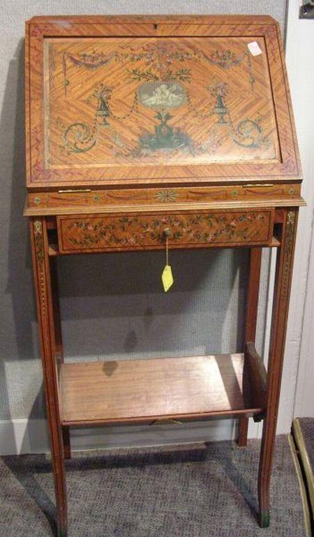 Edwardian Paint Decorated Satinwood Veneer Slant-lid Lady's Writing Desk