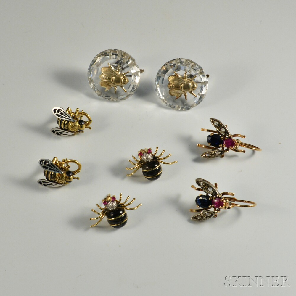 Four Pairs of Gem-set Insect Earrings