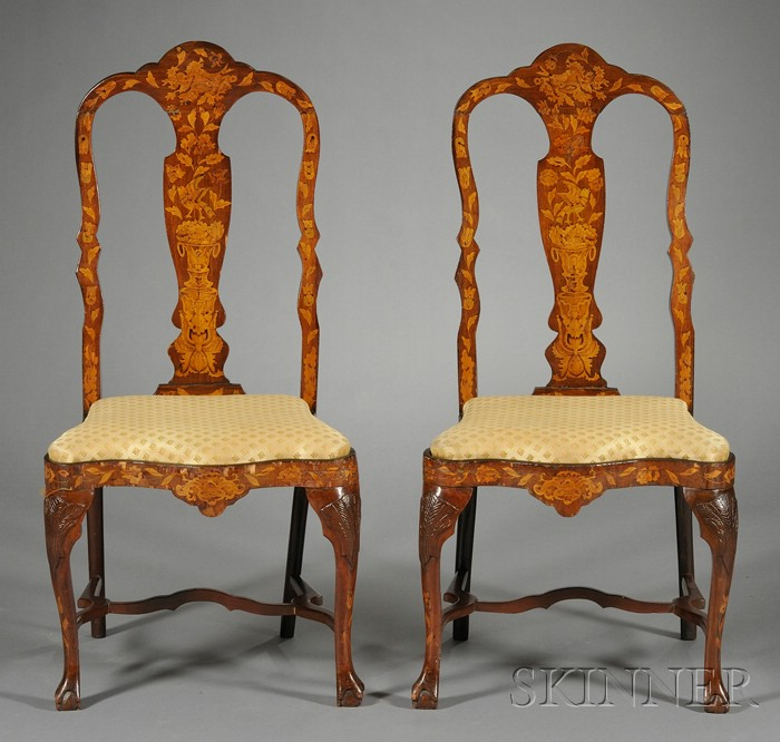Pair of Dutch Fruitwood Marquetry-inlaid Side Chairs
