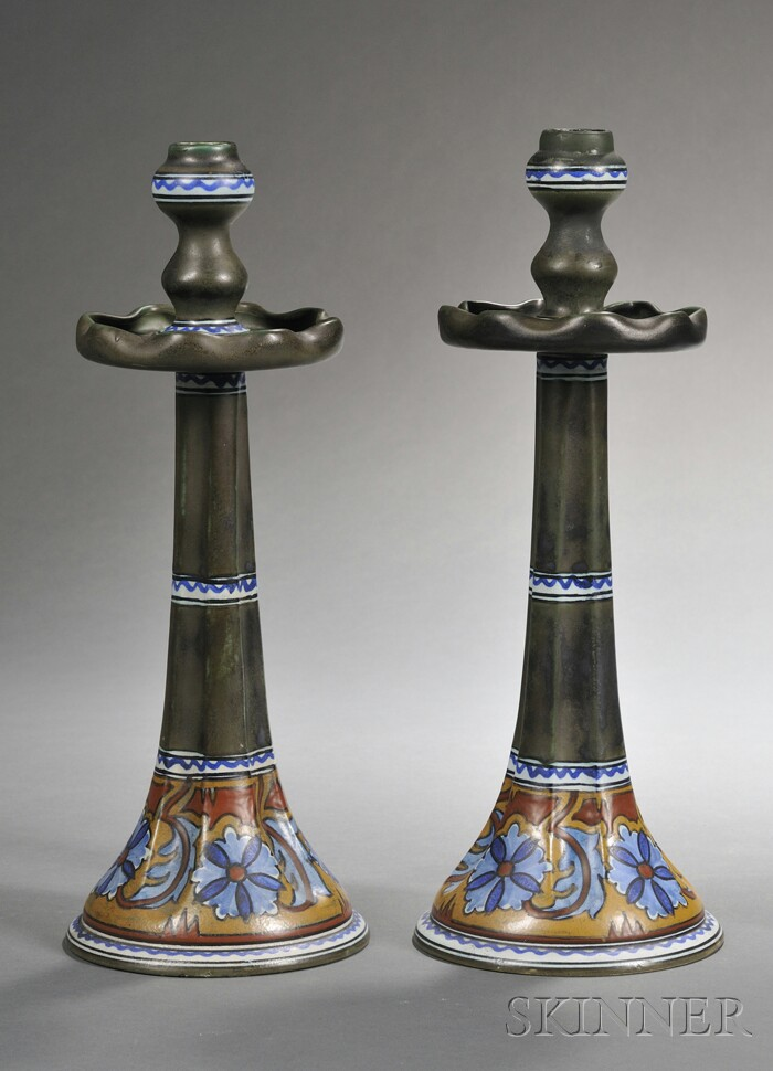 Pair of Gouda Matte Glaze Pottery Candlesticks