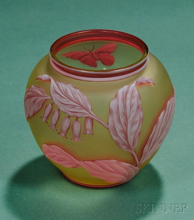 Thomas Webb and Sons Art Nouveau Cameo Glass Vase