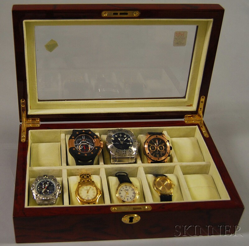 Mahogany Veneer and Beveled Glass Display Box with Seven Gentleman's Wristwatches