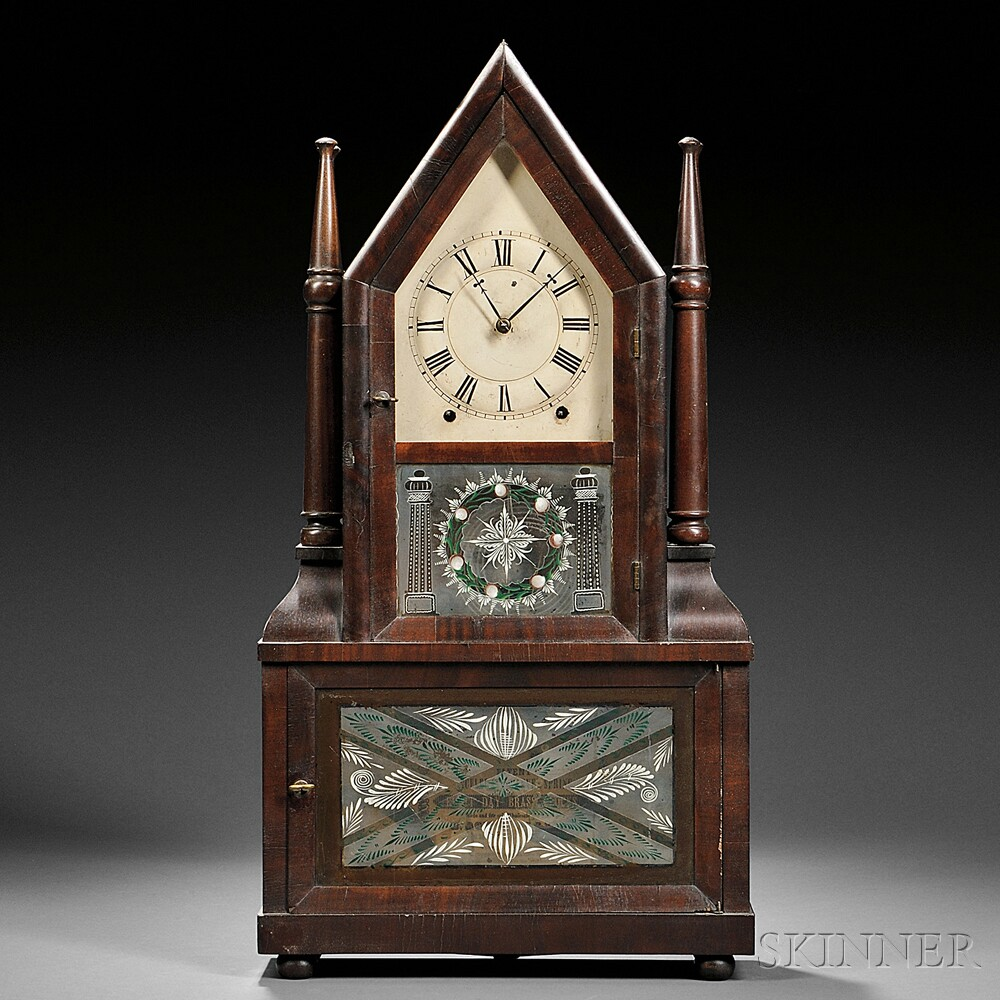 "Birge & Fuller ""Double Candlestick"" Wagon Spring Steeple Clock"