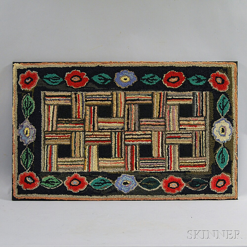 Wool and Cotton Hooked Rug, America