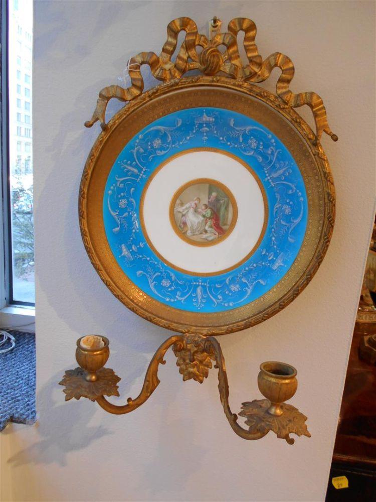 Pair of Minton Porcelain and Gilt-bronze Sconces