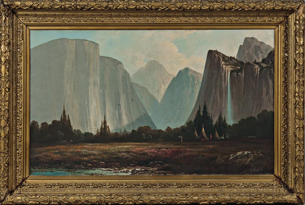 Landscape Painting The Bridal Veil Falls Yosemite