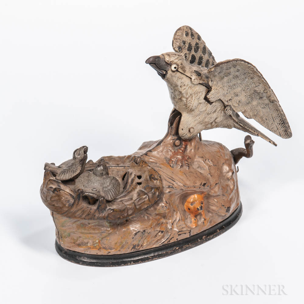 "Cast Iron ""Eagle and Eaglets"" Mechanical Bank"
