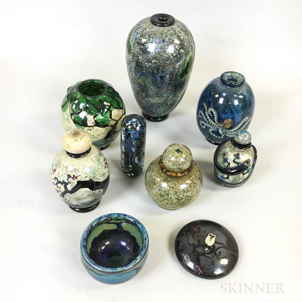 Nine John Nygren Art Glass Objects