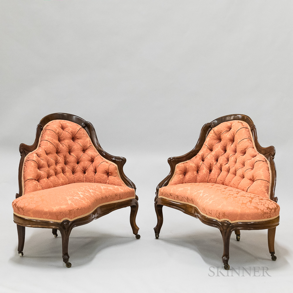Pair of Rococo Revival Upholstered Rosewood Settees and a Side Chair