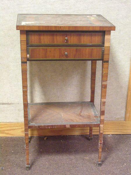 Louis XVI Style Game Board Top Inlaid Tulipwood Veneer Two-Drawer Table.