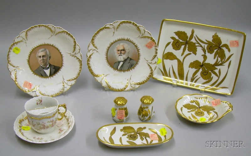 Nine Pieces of Gilt-decorated Porcelain Tableware