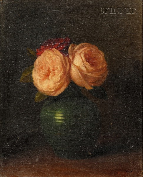 George Henry Hall (American, 1825-1913)      Roses in a Vase