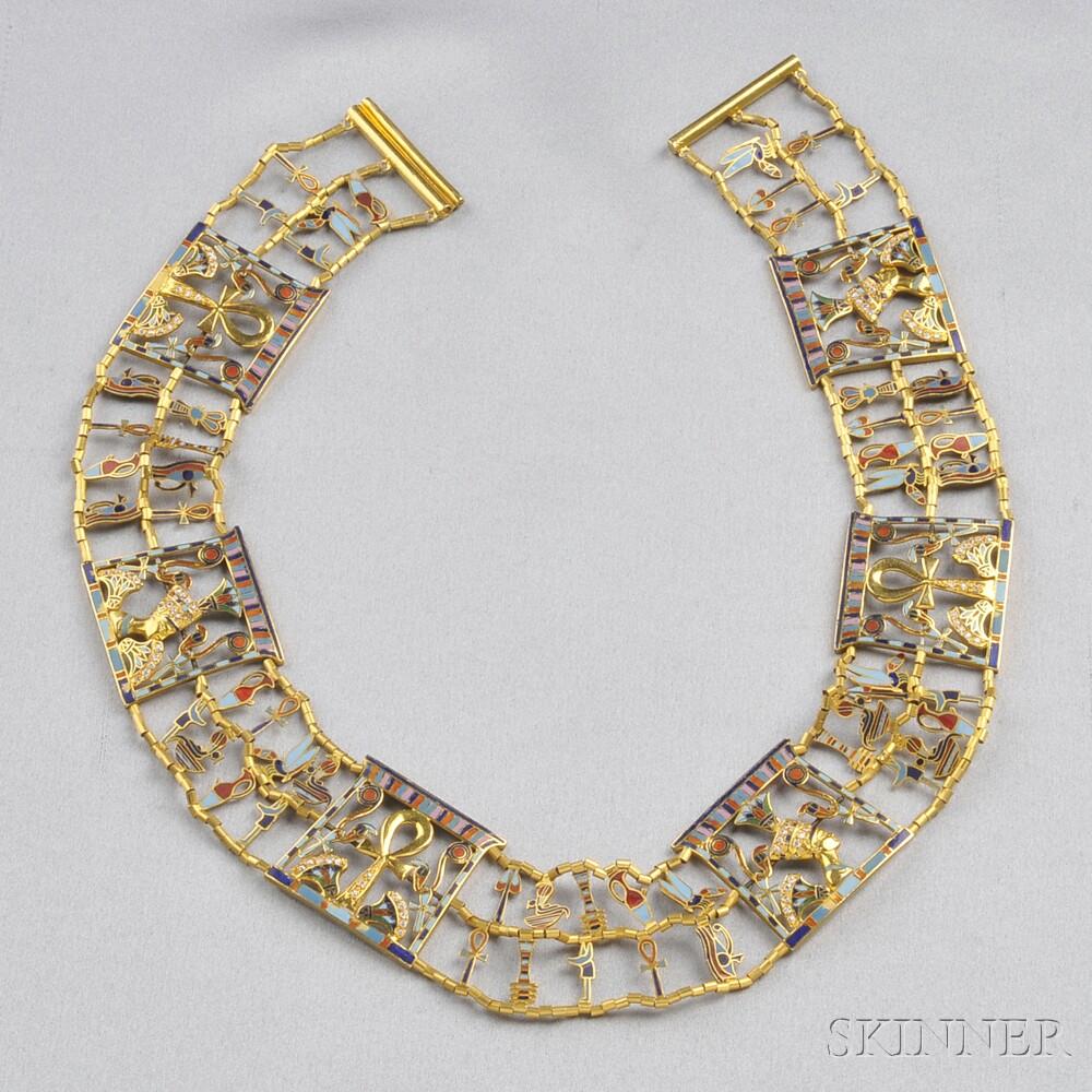 18kt Gold, Enamel, and Diamond Collar