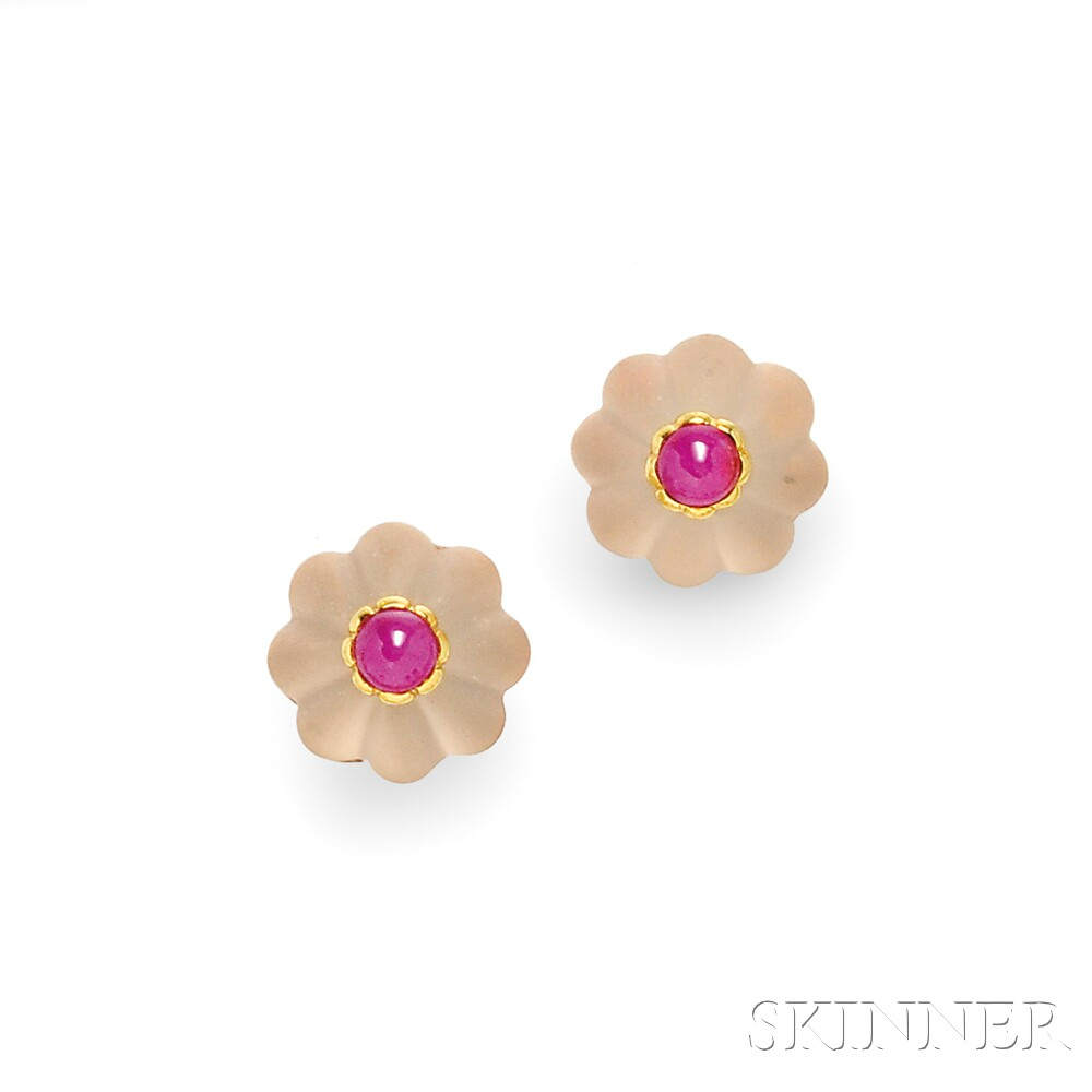 Rock Crystal and Ruby Earclips, Tambetti