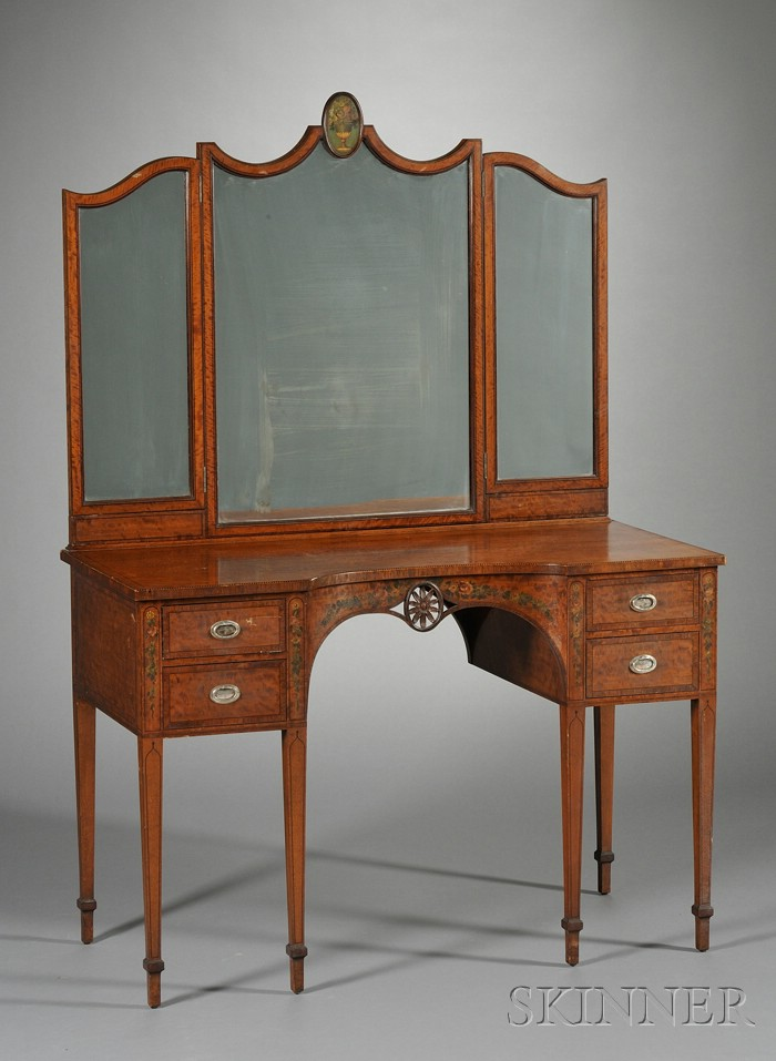 Edwardian Painted and Inlaid Satinwood Dressing Table