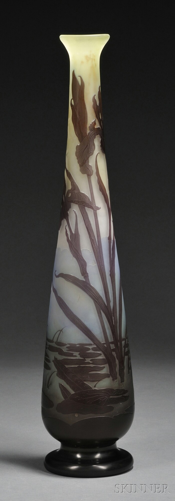 Galle Cameo Glass Iris Vase