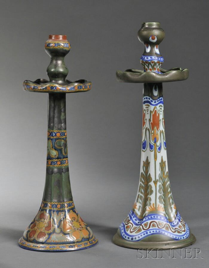 Two Gouda Matte Glaze Pottery Candlesticks