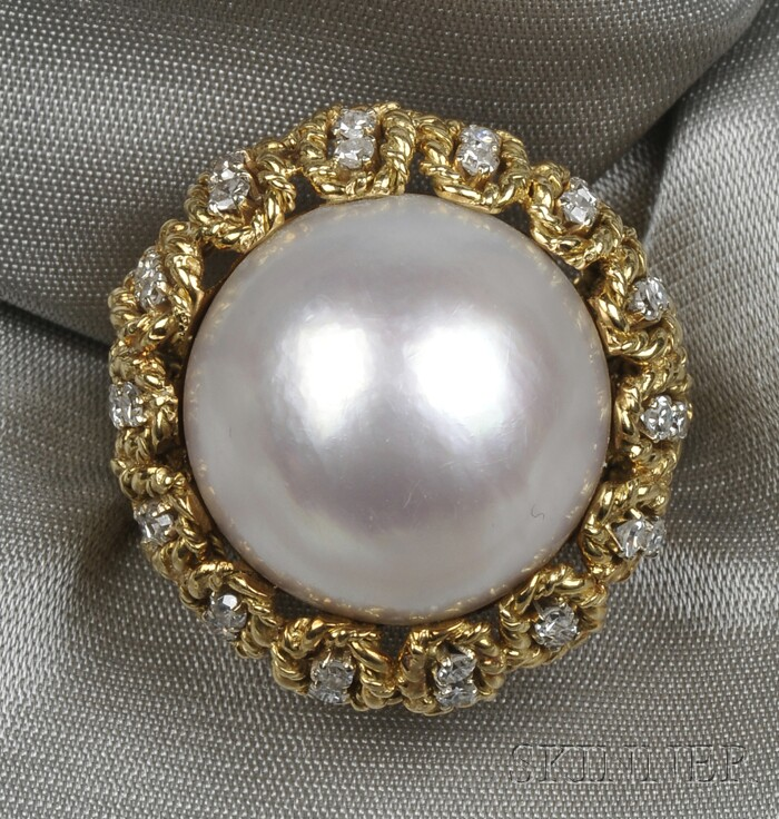 18kt Gold, Mabe Pearl, and Diamond Ring, Tiffany & Co.