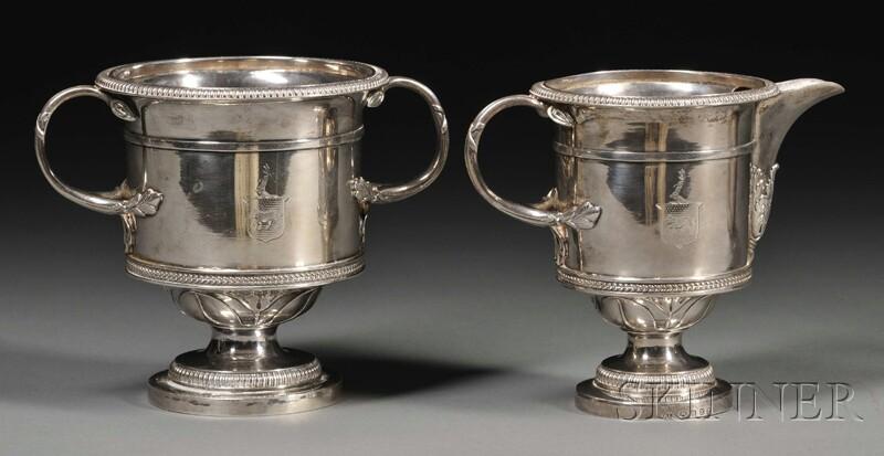 George III Silver Urn-form Creamer and Sugar