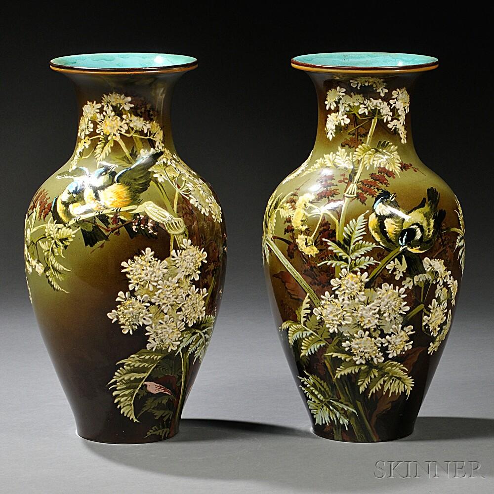 Pair of Doulton Lambeth Florence Lewis Decorated Impasto Vases