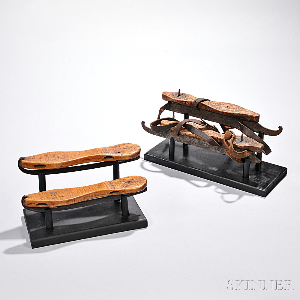 Pair of Bird's-eye Maple and Pair of Tiger Maple Ice Skates