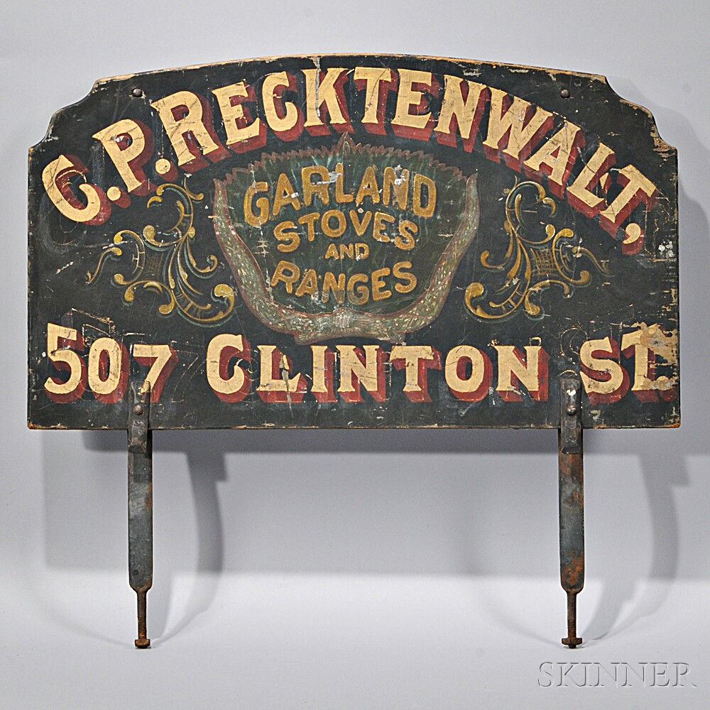 """Painted """"G.P. RECKTENWALT GARLAND STOVES AND RANGES"""" Advertising Sign"""