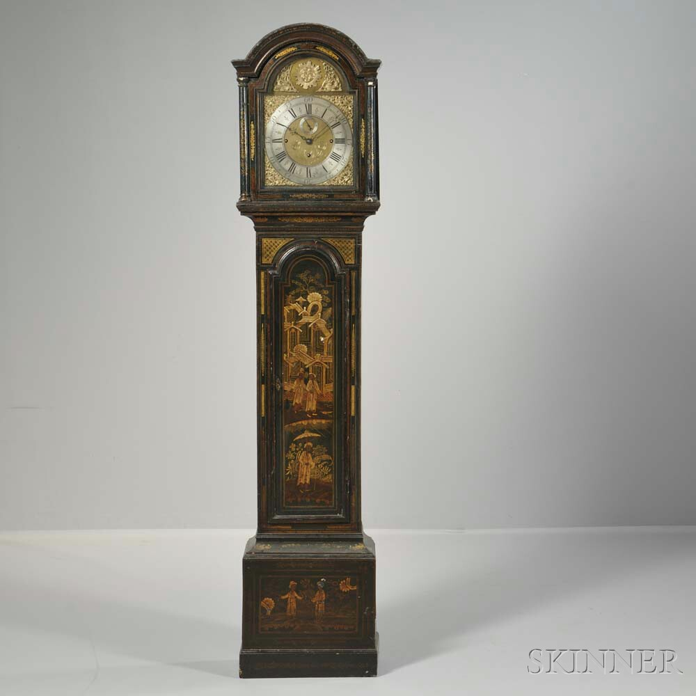 James Brock Quarter-chiming Japanned Longcase Clock