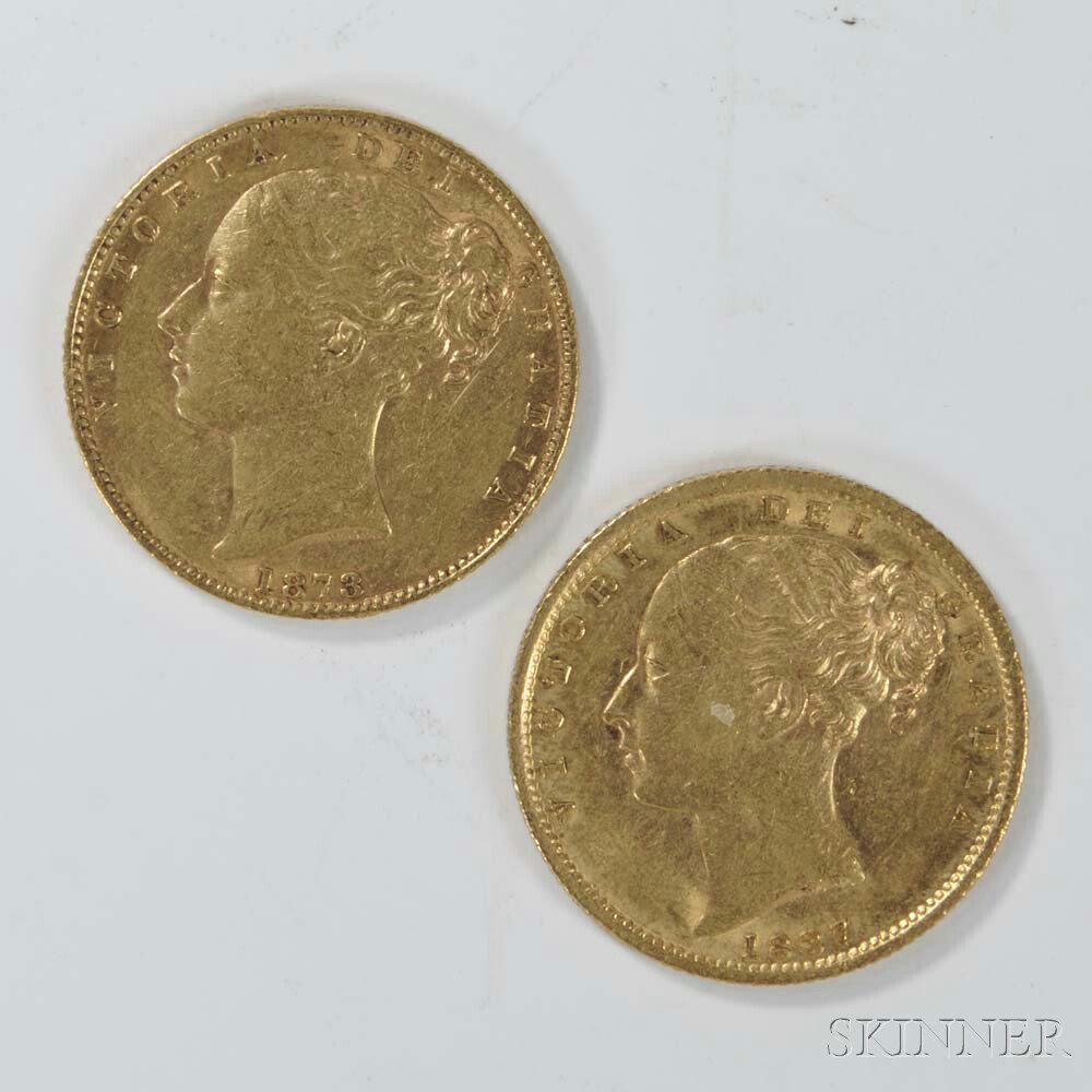 1873-S and 1887-S British Queen Victoria Gold Sovereigns.     Estimate $400-600
