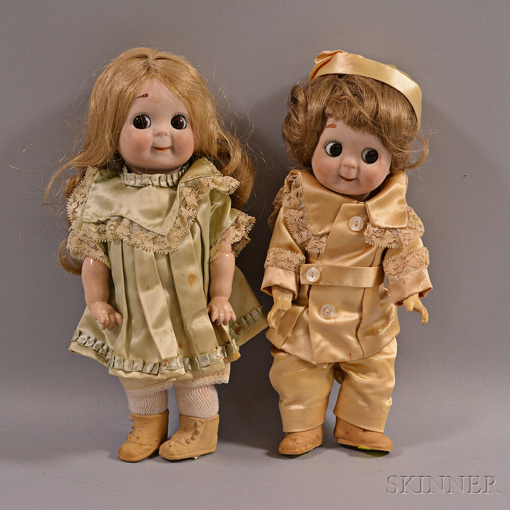 Two Kestner Googly Eye Bisque Head Dolls