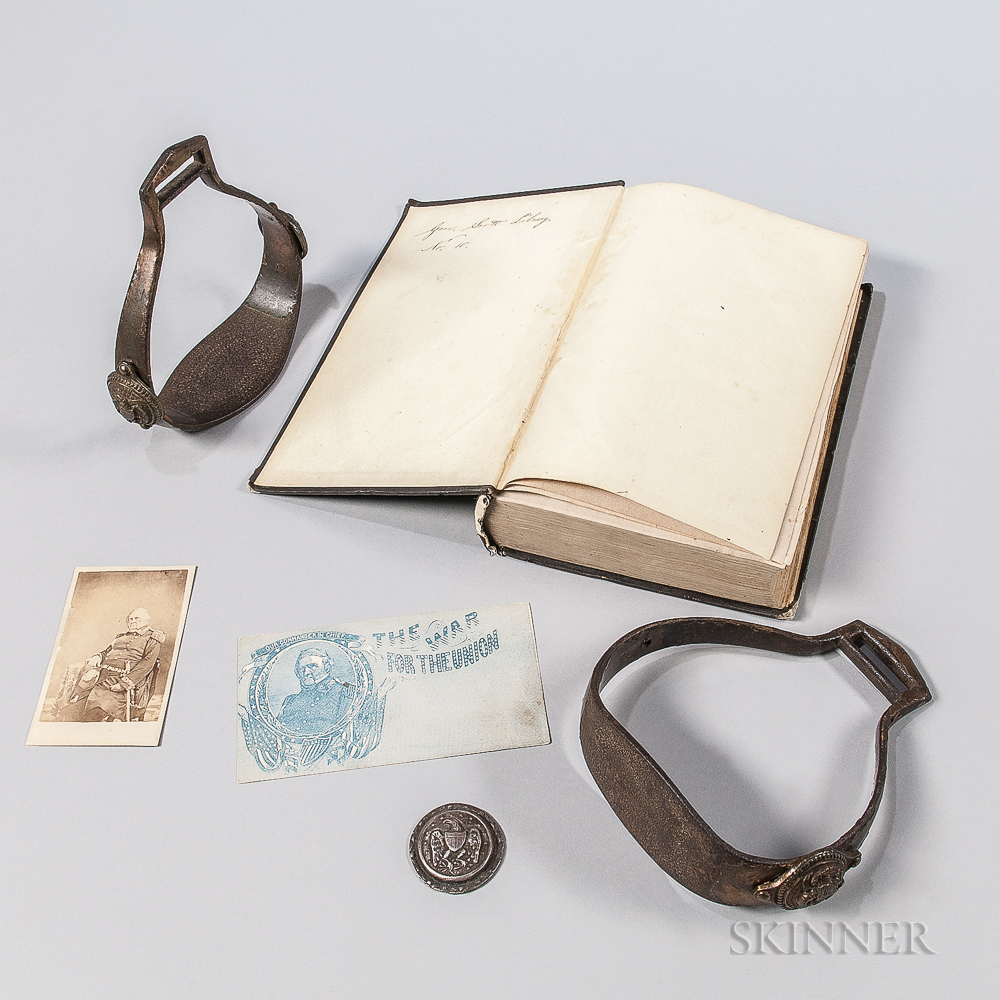 Winfield Scott's Mexican War Stirrups, Carte-de-visite, Silver Rosette, and a Book from His Library