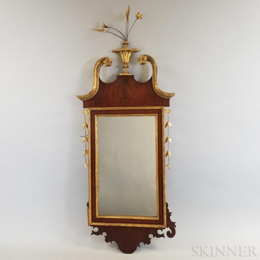 Federal Inlaid Mahogany Broken-pediment Mirror