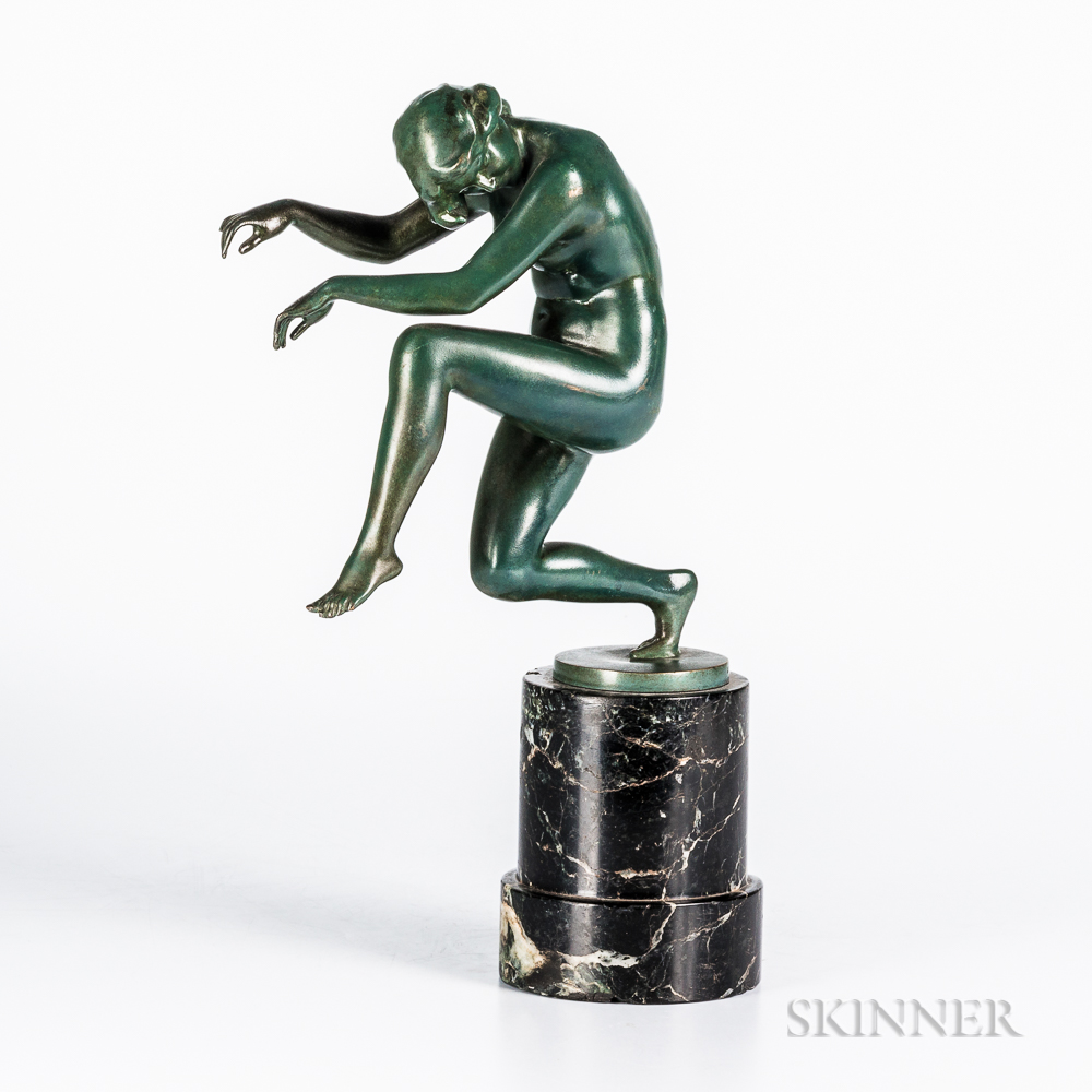 Karl Perl (Austrian, 1876-1965) Bronze Figure of a Female Dancer