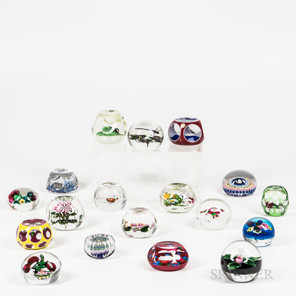 Eighteen Art Glass Paperweights