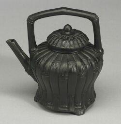 Wedgwood Black Basalt Bamboo Tea Kettle and Cover